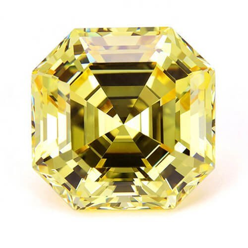 cubic zirconia Asscher cut yellow cz