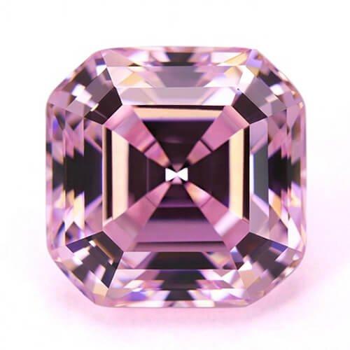 cubic zirconia asscher cut pink cz