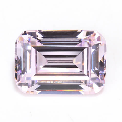 cubic zirconia emerald cut pink cz