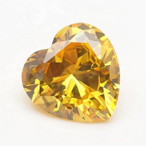 cubic zirconia heart cut yellow cz