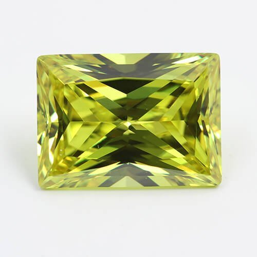 cubic zirconia rectangle princess cut peridot cz