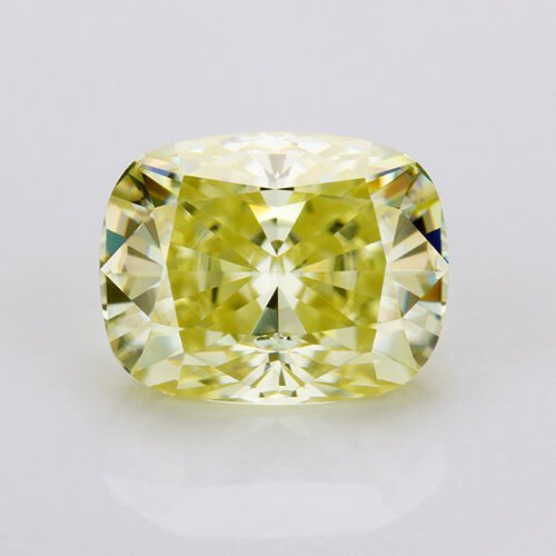 loose Moissanite cushion cut yellow color