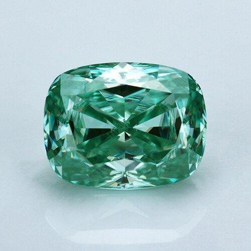 loose Moissanite cushion cut green color