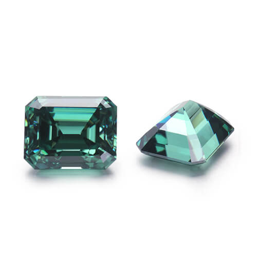 loose Moissanite emerald cut green color