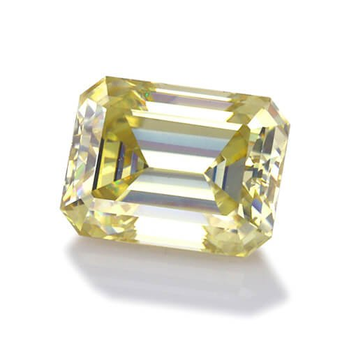 loose Moissanite emerald cut yellow color