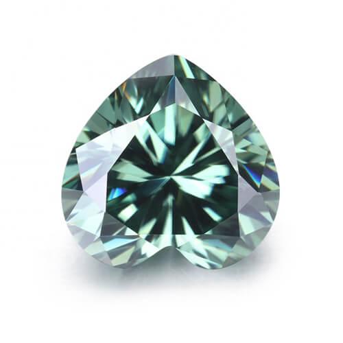 loose Moissanite heart cut green color