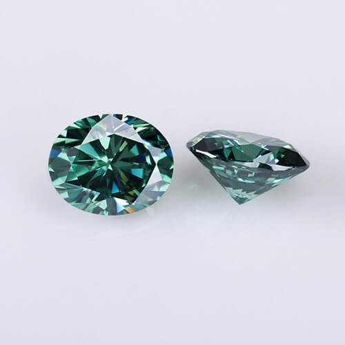 loose Moissanite oval cut green color