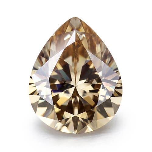 loose Moissanite pear cut light champagne color