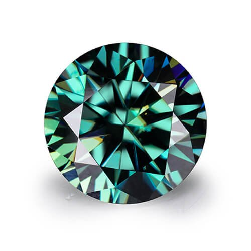 loose Moissanite round cut green color