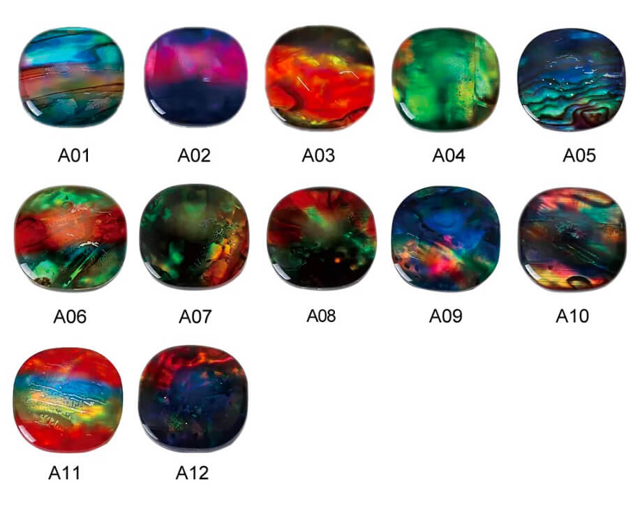 lab created Ammolite glass color chart